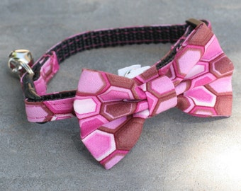 """Ready to Ship 3/8"""" Cat Collar with Bow Tie - Neapolitan Honeycomb -"""