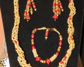 Sale!! Handmade Original Beaded Set Gold Seed Beads & Red Pearls Necklace, Bracelet, Earring 1212-1 FREE Ship U.S.A.