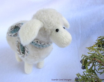 Felted Sheep in Scarf Needle Felted Fiber Art Animal Sculpture