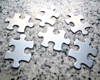 "Puzzle Piece Stamping Blanks, 1""x5/8"" (25mm x 16mm), 22g Stainless Steel - AWESOME Silver Alternative P08-05"