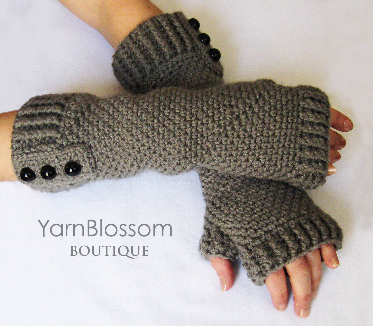 CROCHET PATTERN Fingerless Gloves Sizes by YarnBlossomBoutique
