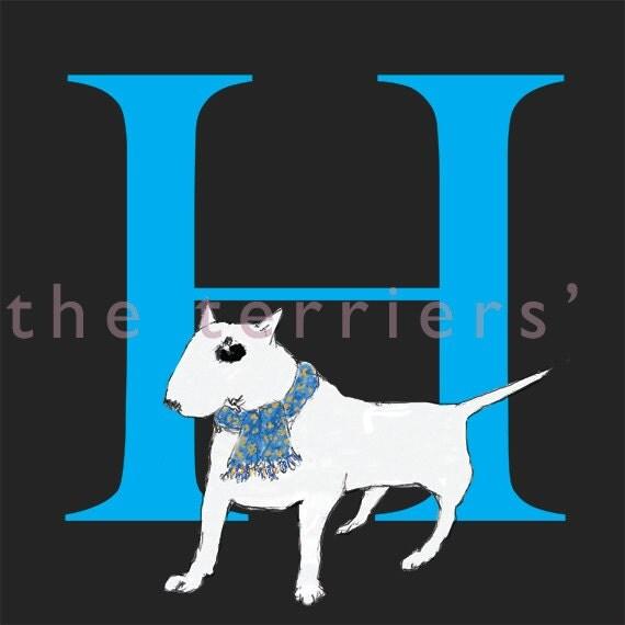 Bull Terrier Alphabet F to J  Print +FREE SHIPPING