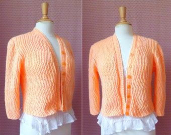 70s neon pink salmon pointelle knit cardigan sweater S