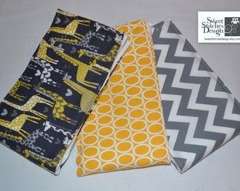 Baby Boutique Burp Cloths - Burp Cloth Set - Gray and Yellow - Sweet Giraffe - Gender Neutral