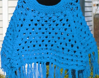 Childs Poncho With Tassles