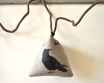 Woodland Crow Raven. Gift one of a kind for ravens lovers. Linen padded cushion. Print original painting