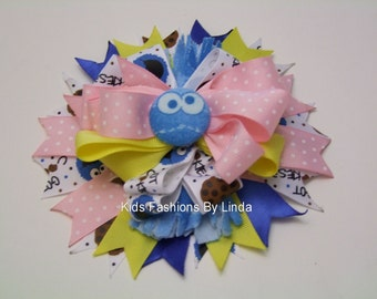 Pink/Blue Hairbow with Cookie Monster Fabric Button Center