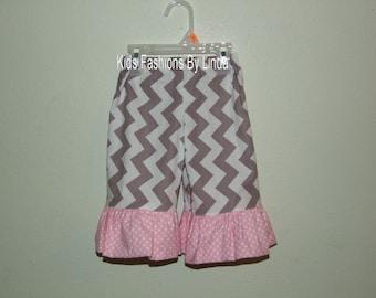 Grey Chevron Pants with Pink Dot Ruffles