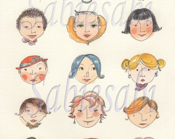 Digital Download Sheet -girl faces-Print It Yourself -Transfer - Wall Decor - Crafts- JPG - Instant Download