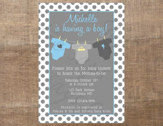 Custom Printable Baby Shower Invitation (boy, girl, unisex)