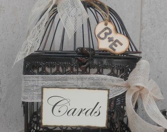 Birdcage Wedding Card Holder / Rustic / Vintage Wedding Cardholder