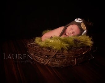 Crochet NEWBORN Owl Hat Photography Prop