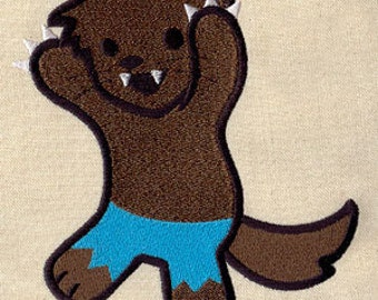 Adorable Werewolf Monster Embroidered Flour Sack Hand Towel