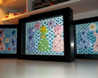 Flower Belt Dresses 6x8 Inches Framed