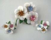 White Enamel Rhinestone brooch earrings Set flower power