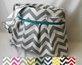 Stella Chevron DELUXE Diaper Bag Large - Choose your Chevron and Accent Fabric- Elastic Pockets Stroller Attachment