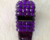 Purple Rhinestone Covered Whistle Necklace