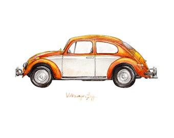 "Creamsicle Volkswagon Bug, classic automobile watercolor print, 8x10"""