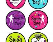 Dance Star  Swag Bag Tags Digital Large ROUND Tags N Toppers PRINTABLE