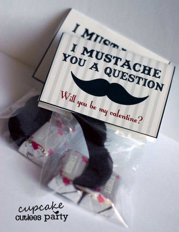 "No Candy Valentine's Day Ideas at Total Lifestyle Management: I Mustache You a Question, from ""Cupcake Cutiees Party"" on Etsy"