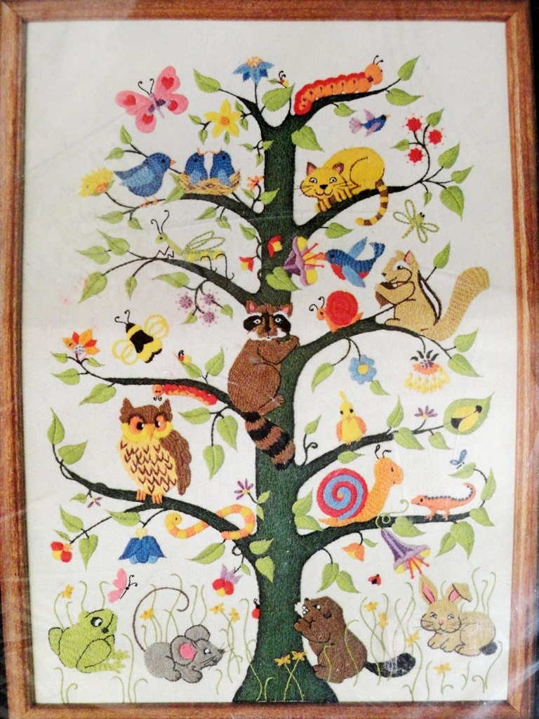 Vintage dimensions crewel embroidery tree of life animals