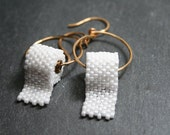 Funny Earrings Hoops Toilet Paper Seed Bead FUN tradition - different Auburn Toomer's Corners