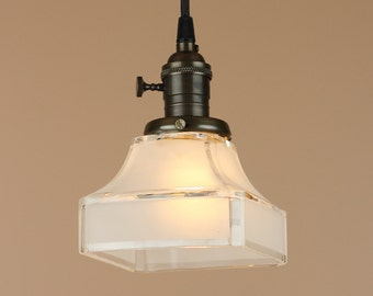 Pendant Lighting w/ Mission Etched Square Shade - Antique Style Cloth Wire - Hand Finished in Oil Rubbed Bronze