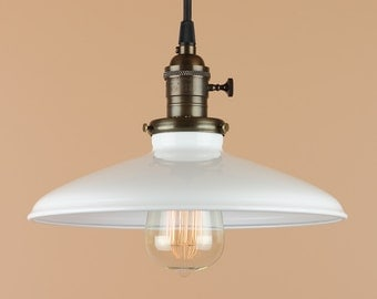 Lighting w/ 10 inch White Porcelain Enamel Shade - Pendant Light w/ Antique Reproduction Cloth Wire - Oil Rubbed Bronze Finish - Barn Light