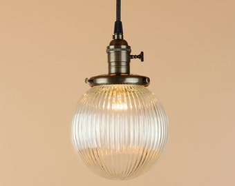 Pendant Light - 6, 8 inch Clear Glass Holophane Style Globe - Antique Reproduction Wire - Hand Finished in Oil Rubbed Bronze