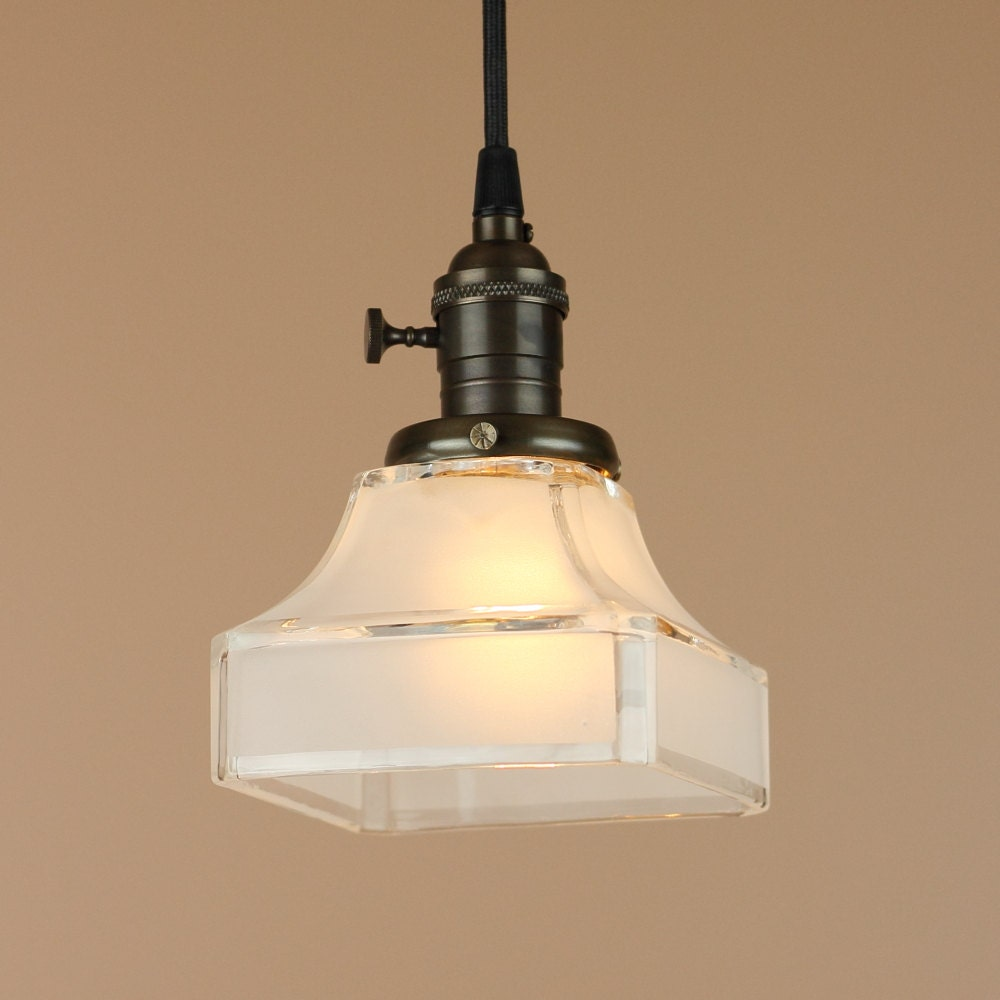 pendant lighting w mission etched square shade antique