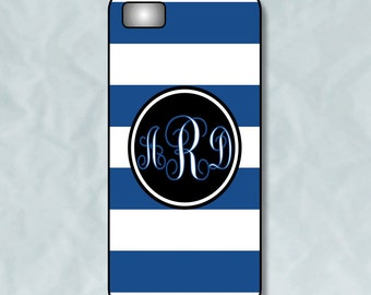 Monogram iPhone 4 Case - Navy Blue Cabana Strips - iPhone Case Plastic or Rubber Case - Personalized Monogram iPhone Case