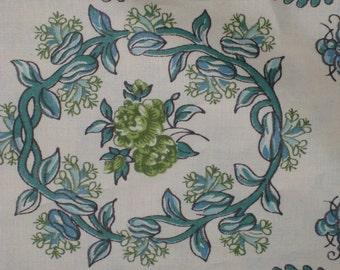 Vintage Cotton Chintz Fabric, Vintage Textiles, Vintage Chintz, Vintage Floral Striped Fabric, Vintage Cotton Fabric