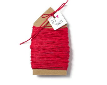 READY TO SHIP | Red hemp fiber cord jewelry string 20 yards. 100% natural twine gift wrap supplies More colors