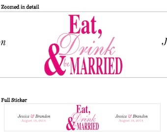 Personalized Glossy WATERPROOF Wedding Water Bottle stickers - many designs to choose from -change designs to any color, wording, etc WW-019