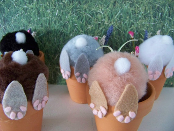 Curious Little Bunny Pots /  Whimsical Easter Decoration / Bunny In Flower Pot