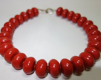 LES BERNARD Coral Lucite Necklace