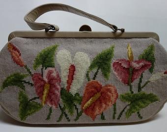 60s Tropical Tapestry Handbag KORO CREATIONS Cala Lillies