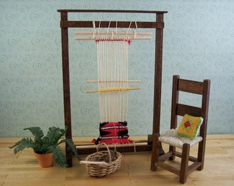Navajo tapestry loom in 1 inch scale for dollhouses