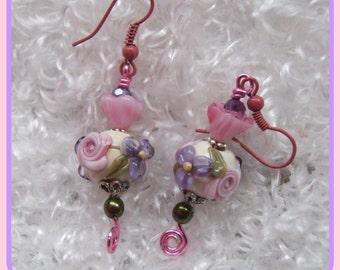 ROSIE -   Floral Lampwork Earrings, Dangle Earrings, Pink & Purple Earrings, Glass Bead Earrings