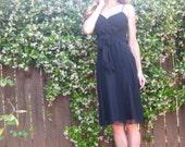 Vintage Nicole Miller 90's Silk Chiffon Empire Waist Slip Dress With Sash Size 6 LBD