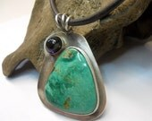 Metalwork Southwest Nevada Turquoise Amethyst Sterling Silver Pendant/Necklace - jewelrybyDebra