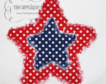 4th of July Raggy Star Embroidery Design Applique