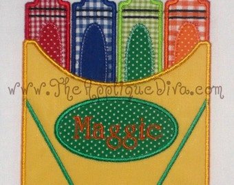 Back to School Crayon Box Embroidery Design Machine Applique