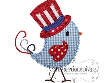 4th of July All American Birdie  Digital Embroidery Design Machine Applique