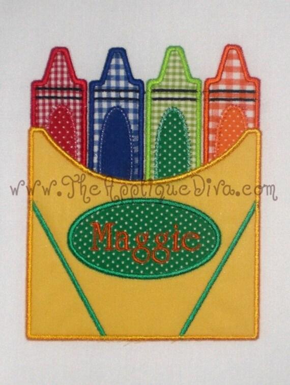 Back to School Crayon Box Embroidery Design Machine Applique