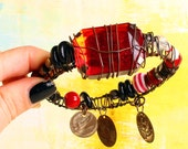 Reserved. Red Ruby Bracelet, Gypsy Queen Bangle, Tribal Belly Dance chunky Arm Wear coin amultes Free Spirit