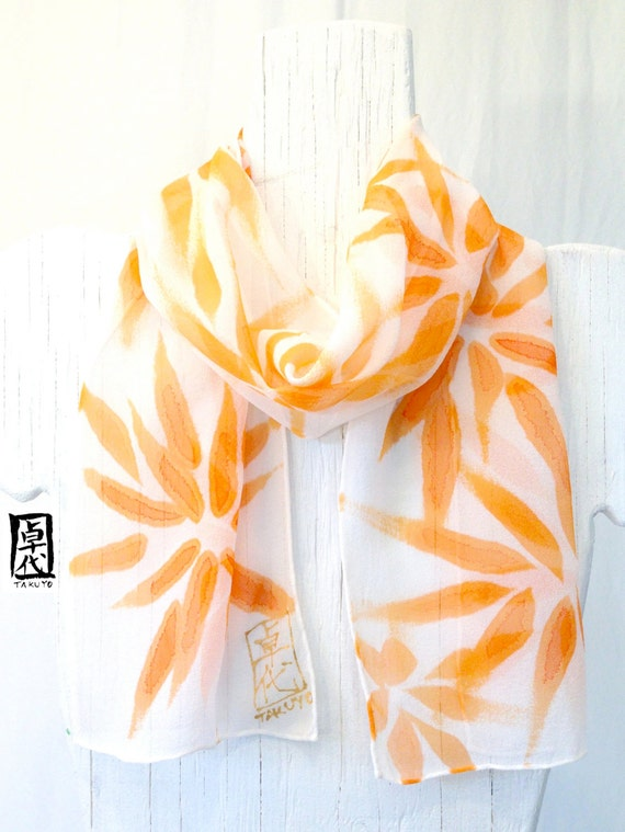 Hand painted Silk Scarf. Mothers Day Gifts. Mango Yellow Orange Silk Scarf Hanabi Flowers. Spring Fashion. Silk Chiffon Scarf. 7x50 in.