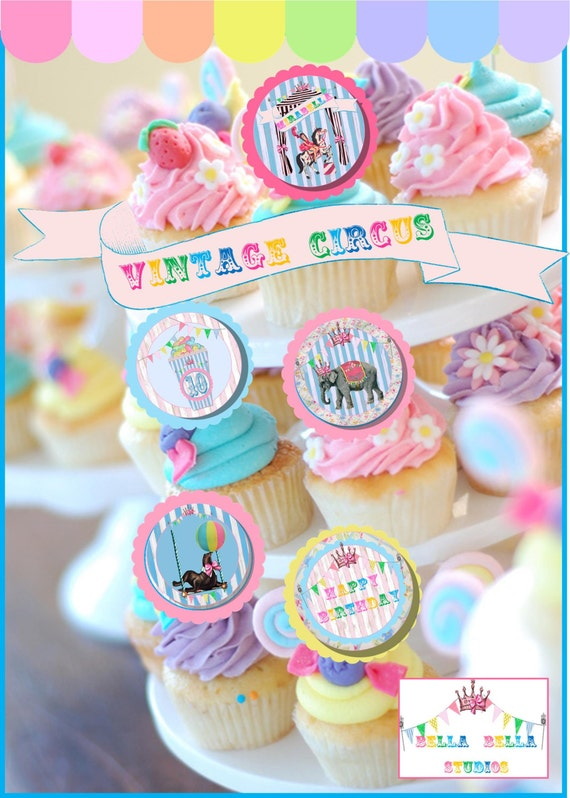 VINTAGE  CIRCUS Party CARNIVAL - Custom Printable Party Collection by Bella Bella Studios