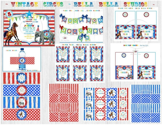 CIRCUS Party CARNIVAL - Horse and Elephant - Custom Printable Party Collection by Bella Bella Studios