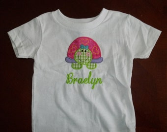 Cute Turtle Short Sleeve Appliqued Tshirt - Toddler Tshirt sizes 12 months to 5/6